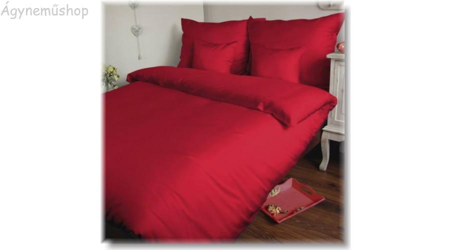 piros pamutszatén ágyneműhuzat